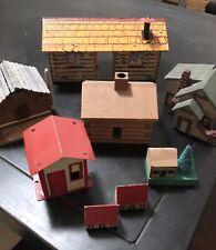 Lot of 8 Small Vintage Collection Log Cabins Handmade Houses Wood/Tin