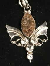 Ammonite & White Topaz sterling silver pendant-fossil shell look; new necklace