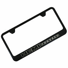 Hemi Powdered Notched Black Stainless Steel License Plate Frame