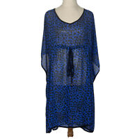 City Chic Womens Blue/Black Spotted Batwing Sleeve Long Blouse Plus Size S