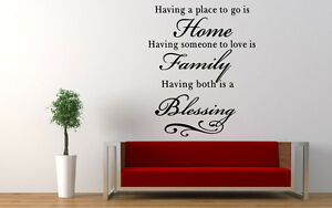 Family Home Blessing  Quote Wall Stickers Art Dining Room Removable Decals DIY