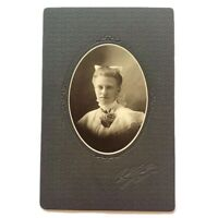 Antique Cabinet Card Photograph Teen Girl Bow & Roses Freeport, Illinois Photo