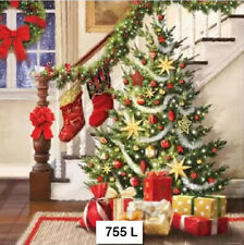 TWO (2) Paper Luncheon Napkins for Decoupage (755) CHRISTMAS, STAIRS, STOCKINGS