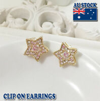 18CT Gold Plated Star Clip On Earrings With Swarovski Crystal