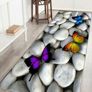 Fashion 3D Colorful Butterfly Kitchen Non-Slip Absorent Water Floor Mats Ba W3J9