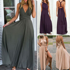 Women's Ladies Convertible Multiway Wrap Bandage Maxi Robe Bridesmaid Long Dress