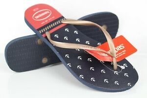 Havaianas Women's Slim Nautical Thong Sandals Size 11/12 Blue Red 4137125