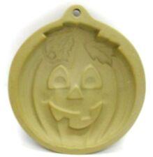 "Wilton 1997 PUMPKIN Clay Cookie Stamp Mold 5"" Round Halloween Fall Bakeware"