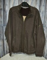 Tommy Bahama Ribbed Brown Full Zip Breathable Jacket Zip Pockets Embroidered XL