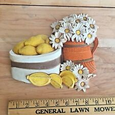 Vintage Homco Syroco Lemon and Daisy wall plaque, 1970s Decor - Homco 7610b