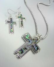 CLASSIC Designer Silver Dots Mother of Pearl Shell CZ Cross Necklace Set
