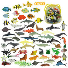 64 Plastic Ocean Animals Figure Sea Creatures Model Kid Toy Dolphin Turtle Whale
