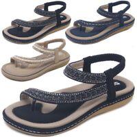 US Summer Women Boho Slippers Flip Flops Flat Sandals Clip Toe Beach Thong Shoes