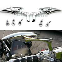 CHROME CNC BLADE MOTORCYCLE CRUISER CHOPPER REARVIEW MIRRORS FOR HONDA UNIVERSAL