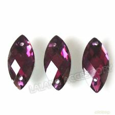 150x New Purple Horse Eye Sew-on Faceted Flatback Button 15mm Embellishment