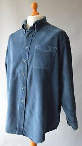 Men's Vintage Blue Corded L.L.Bean Long Sleeved Shirt Size XL.