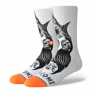 """Stance x Welcome """"Darkness"""" Classic Crew Socks (White) Men's Graphic Print Sock"""