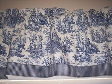 NAVY ON WHITE~WAVERLY Rustic Toile W/ Gingham Ck Trim STRAIGHT Valance CURTAINS