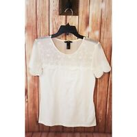 Womens H&M White Lace Blouse Shirt Scalloped Short Sleeve Floral Embroidered M