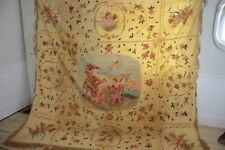 Antique / vintage  Italian painted silk moire wall hanging textile curtain 90x94