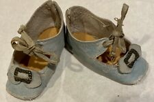 Blue Antique Doll Shoes For Antique, Vintage Or Early Doll, See Ruler For Size