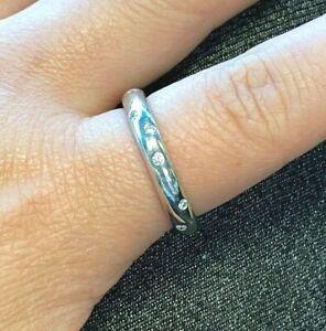 Estate JA John Atencio Solid Platinum Diamond Wedding Band Ring Size 9