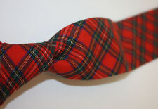 Flying Scotsman Red Tartan Plaid Wool and Cotton Tie Made USA Excellent Cond.