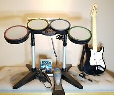 PS3 Rock Band Drum Set HUGE BUNDLE with Guitar + Dongle & Game - Mic. FREE Ship