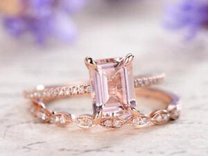 2Ct Emerald Cut Morganite & Art Deco Wedding Bridal Ring Set 14k Rose Gold Ovar