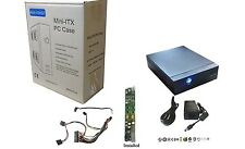 Fanless Mini-ITX Desktop/VESA-Mount PC Case w/AC Adapter, DC-to-ATX Power Supply