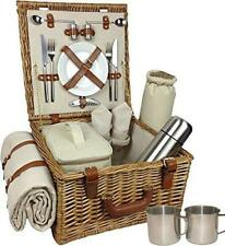 Deluxe Fully Fitted Traditional Picnic Basket 2 Persons Tan Leather