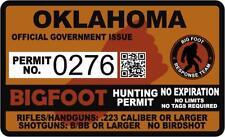 "4"" Oklahoma OK Bigfoot Hunter Hunting Permit Sticker Sasquatch Vinyl Decal"