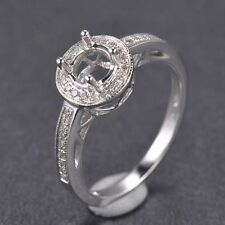 Round Cut 6mm Solid 14K White Gold Natural Diamond Semi Mount Ring Setting