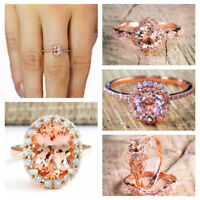 18K Rose Gold Filled White Topaz Diamond Ring Wedding Engagement Gift Size 6-10
