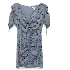 WAYF Larissa Floral Ruched Front Mini dress Blue Size M NWT