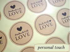 Round Paper Labels 'Hand made with love' Gift Food Kraft Craft Stickers MD