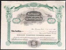 """BURLINGAME TELEGRAPHING TYPEWRITER CO Stock 1908 """"Teletype Machine"""" Nice Certif."""