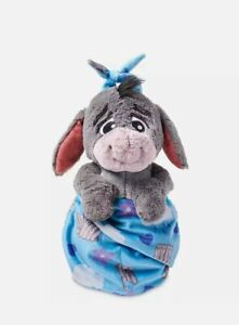 "NEW Disney Parks Eeyore Babies Blanket Pouch Baby 10"" Plush Doll Winnie The Pooh"