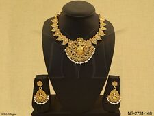 Indian Ethnic Temple Jewellery Gold Plated Necklace Set Traditional Jewelry