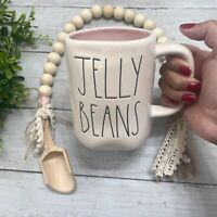 "New Rae Dunn Easter Coffee Mug ""JELLY BEANS"" Black LL White Mug Pink Interior"
