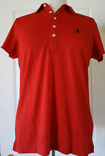 $90 NWT Womens Ralph Lauren Golf Tailored Fit Classic Red Pima Polo Shirt M
