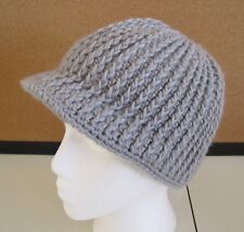 WOOLRICH* Wool Blend Cable Chunky Knit Beanie Hat w/visor in Gray ~ O/S ~ NWT