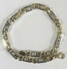 Figaro Bracelet/Anklet 9�, 14.4gr, Lobster Clasp 14K Solid Gold Two Tones Link