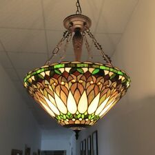 Chloe Lighting Tiffany Style Inverted Green Ceiling Lamp CH36933GV20-UH3