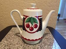 At Home With Mary Engelbreit Cherry Cameo Tea Pot Pitcher 2001 Enesco Cherries