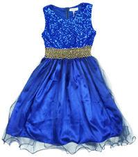 Vestidos de niña de 2 a 16 años azules de satén