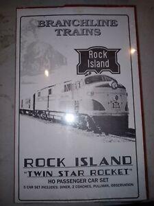 "Branchline Rock Island ""Twin Start Rocket"" Ho 5 Passenger Cars Set"