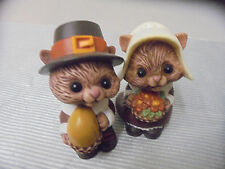 "Hallmark Cards Salt & Pepper, Squirrel, Mr & Mrs Pilgrims 3"" Tall"