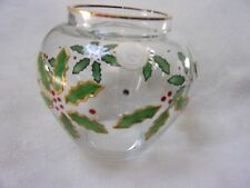 Crystal Clear Handcrafted Crystal Vase/Bowl Holly & Berries Pattern Made in Roma