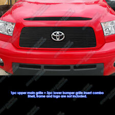 Fits 2007-2009 Toyota Tundra Black Billet Grille Combo Upper+Lower